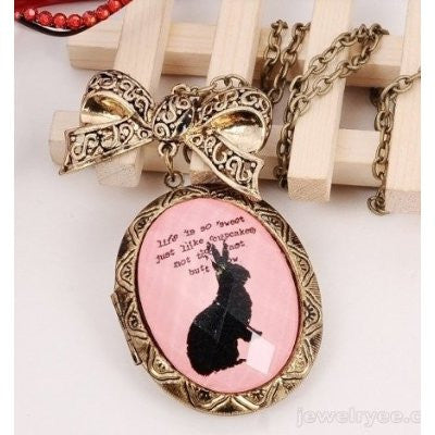 Vintage Inspired Rabbit Locket Oval Necklace