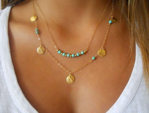 Turquoise Multi Chain Necklace