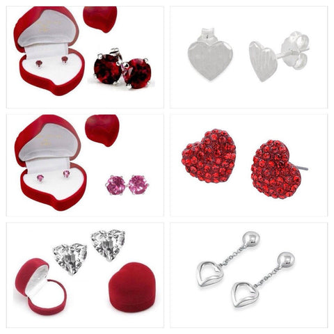 Sweetheart Earrings in Heart-Shaped Box