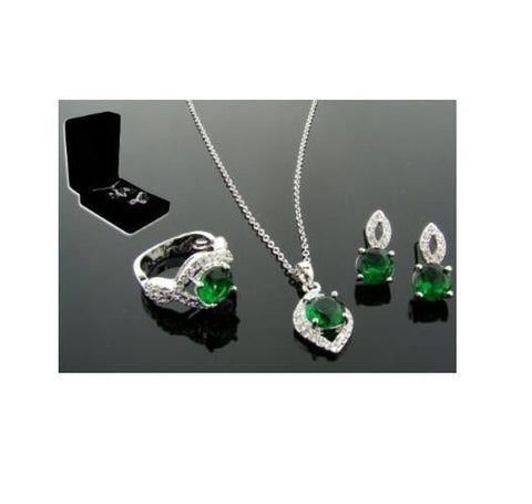 Great Gatsby Emerald 3 Piece Set in Sterling Silver Finish