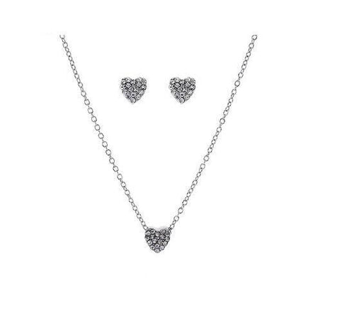 Mini Pave Heart Necklace in Crystal Set in Sterling