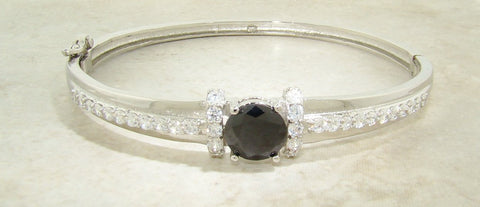 Black Onyx Solitaire CZ Bangle Bracelet