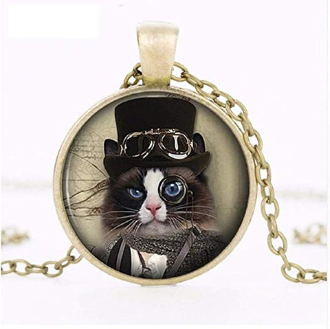 Steampunk Kitty Cabochon Necklace