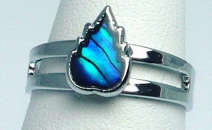 Paua Shell Silver Flame Ring