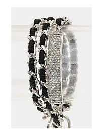 Crystal Band & Leather Chain Bracelet