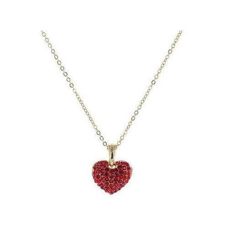 Pave Heart Necklace in Siam Ruby Crystals in 14k Gold