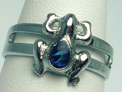 Paua Shell Silver Frog Ring