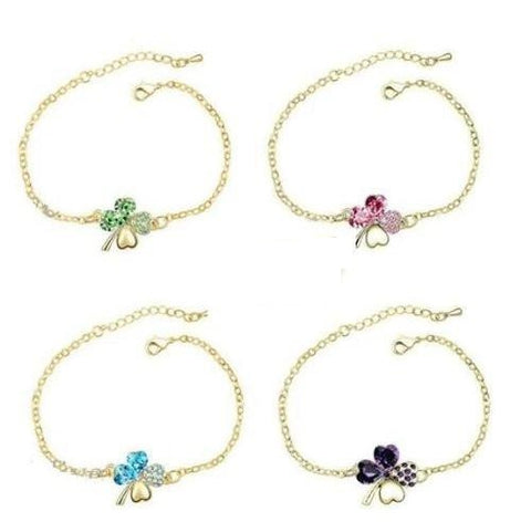 Gold  Shamrock Bracelets in Swarovski Elements