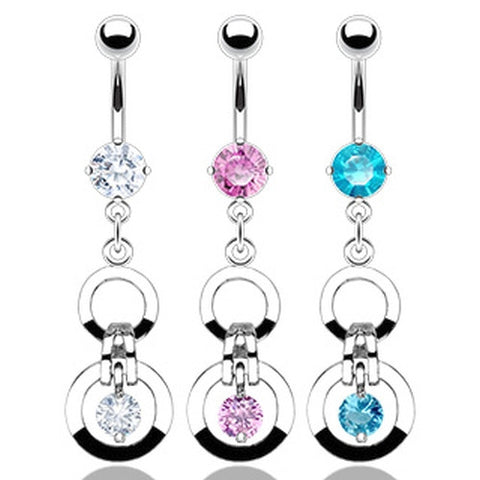 Crystal Double Hoops Belly Jewelry