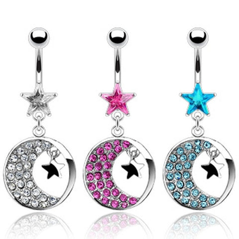Crystal Moon and Stars Belly Jewelry