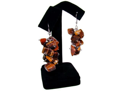 Genuine Semi-Precious Dangle Earrings in Tiger's Eye
