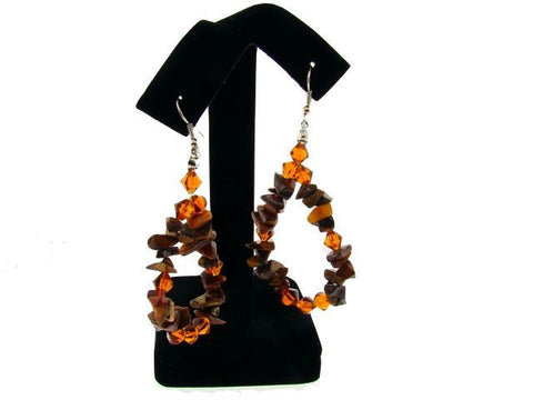 Genuine Semi-Precious Teardrop Earrings in Tiger's Eye
