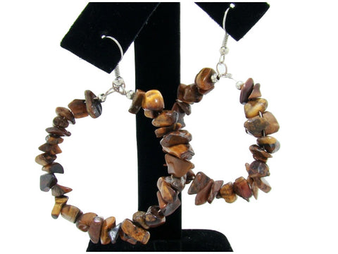 Genuine Semi-Precious Hoop Earrings in Tiger's Eye