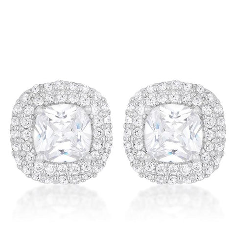 5.14(ct) Cushion Pave Stud Earrings