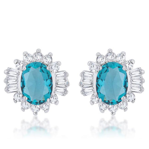 3.3ct Parisian French Blue Classic Stud Earrings