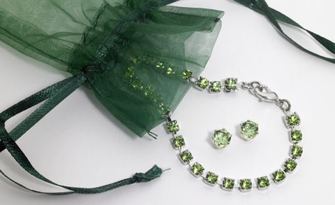 Swarovski Crystal Peridot Birthstone Bracelet & Earring Set  in Sterling Silver Finish