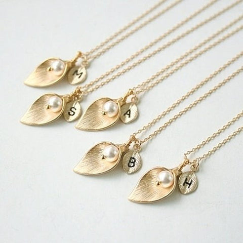 Gold Calla Lily Initial Necklace