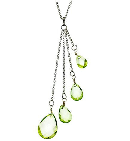 Peridot Green Teardrop Necklace