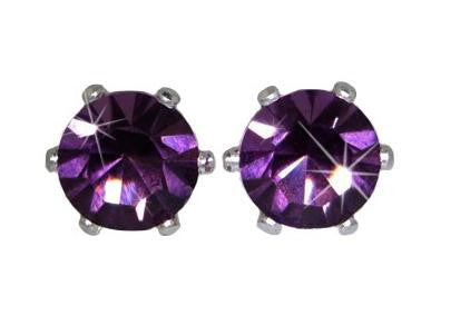 Swarovski Crystal Stud Earrings : Amethyst in Sterling