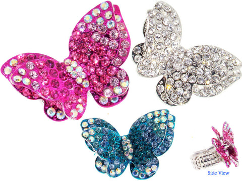 Austrian Crystal Butterfly Ring - Large