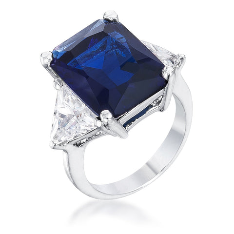 Royal Blue Radiant Cut Engagement Ring