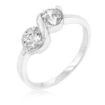 .925 Sterling Silver Anniversary 2-Stone Ring