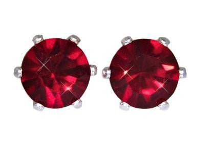 Swarovski Crystal Stud Earrings : Siam Ruby in Sterling