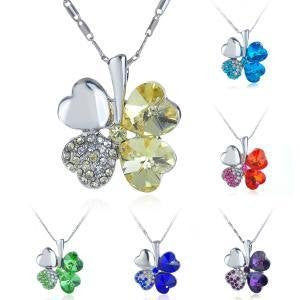 Silver Swarovski Shamrock Necklace
