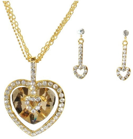Cupid's Heart Necklace and Earring Set in Gold Finish