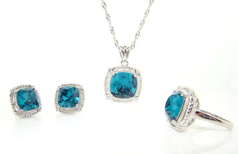3 Piece Aquamarine Set in Sterling Silver Finish