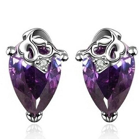 Platinum Plated Amethyst CZ Earrings