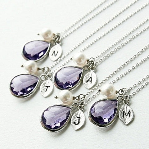 Amethyst & Pearl Silver Initial Drop Necklace