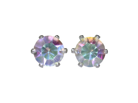 Swarovski Crystal Stud Earrings : Aurora Borealis in Sterling