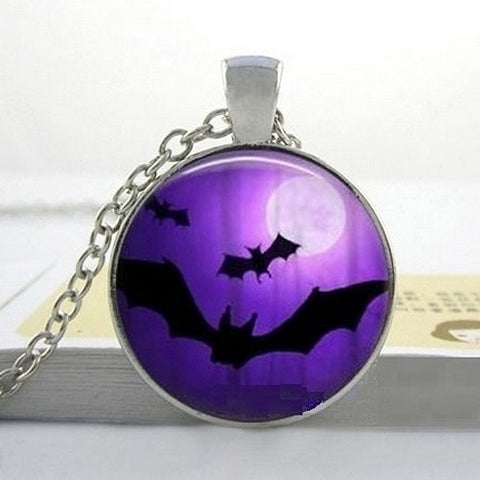 Halloween Bat Cabochon Necklace