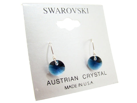 .925 Sterling Silver & Swarovski Crystal Dangle Earrings: Blue Zircon