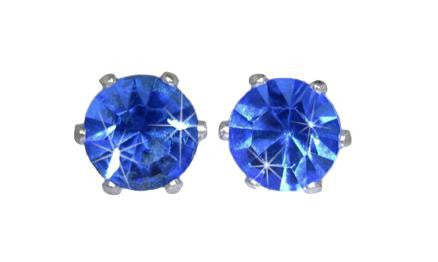 Swarovski Crystal Stud Earrings : Sapphire in Sterling