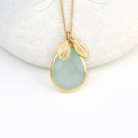 Chalcedony and 18k Gold Leaf Initial Necklace