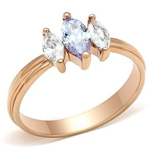 Rose Gold Past, Present, Future Ring with Amethyst