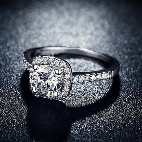 Platinum Engagement Cushion Ring