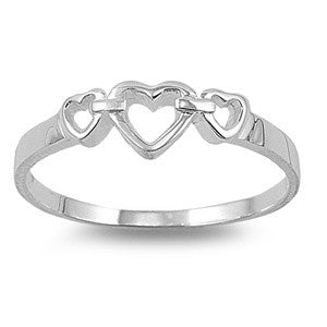 Sterling Silver Chained Heart Ring in Heart-ShapedBox