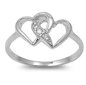 Sterling Silver Double Heart CZ Ring in Heart-Shaped Box