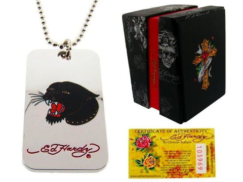 Ed Hardy® Panther Head Dog Tag Necklace