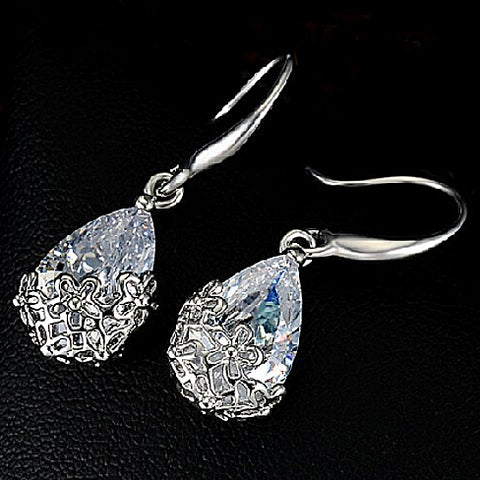 Swarovski Silver Drop Earrings