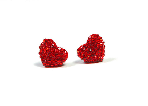 Pave Heart Stud Earring, Pave Stones with Heart-Shaped Gift Box