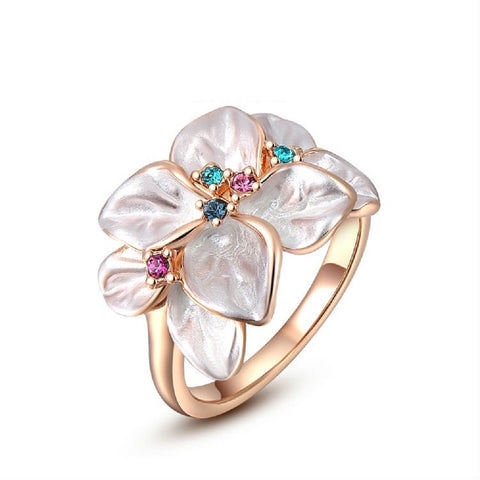 Gold Austrian Crystal Flower Ring
