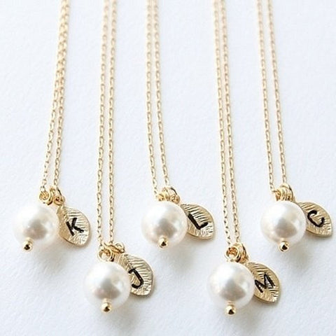 Pearl & Initial Gold Leaf Necklace