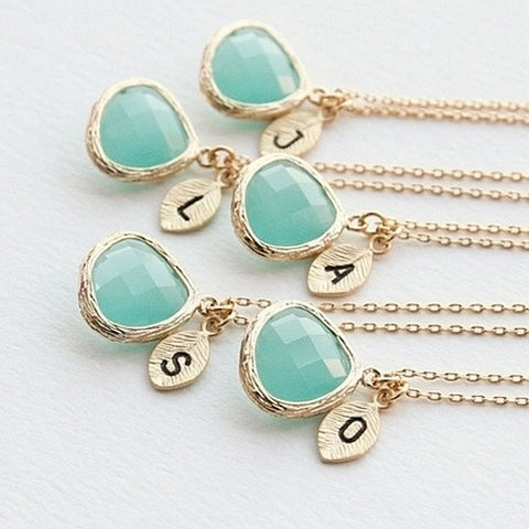 18k Gold Turquoise & Pearl Initial Drop Necklace