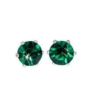 Swarovski Crystal Stud Earrings : Emerald Green in Sterling