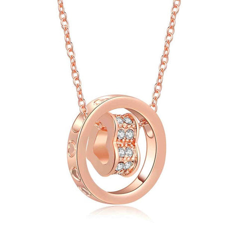 Rose Gold Swarovski Crystal Spinning Heart Necklace