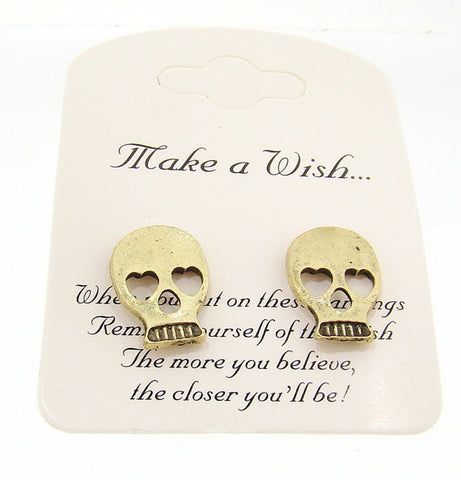 Wish List Skull Earrings in Antique Gold